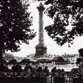 Street Cafe in the Rain, Colonne de Juillet, c1955