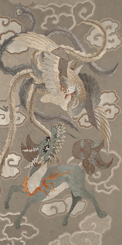 Embroidered Silk, Green and Gold Dragons - Metallic by Oriental School