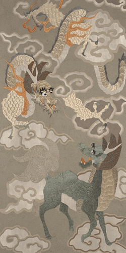 Embroidered Silk, Green and Gold Dragon and Phoenix - Metallic by Oriental School