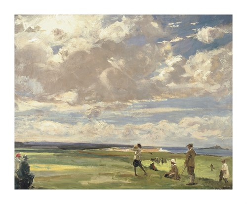 Lady Astor Playing Golf At North Berwick by Sir John Lavery