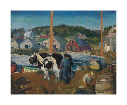 Ox Team, Wharf at Matinicus by George Wesley Bellows