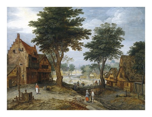 Bustling Village Landscape with Trees by Pieter Brueghel the Younger