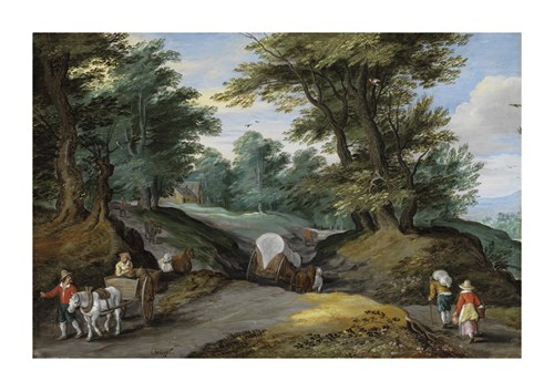 Wooded Landscape With Horses Carts And To The Market Attracting Farmers Wood Print by Pieter Brueghel the Younger