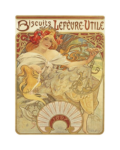 Biscuits Lefevre-Utile, 1897 by Alphonse Mucha