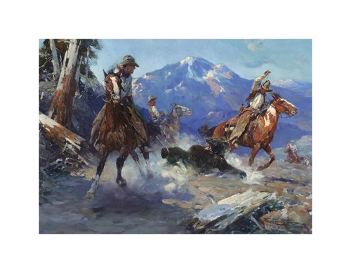 Cowboys Roping a Bear by Frank Tenney Johnson