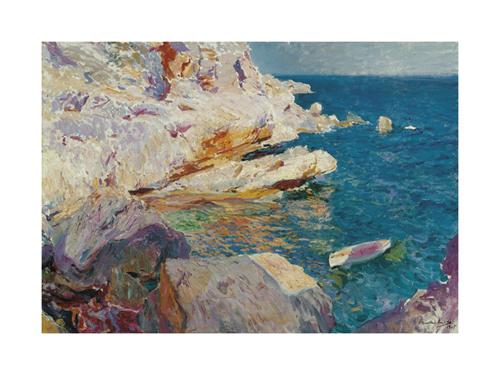 Rocks at Jávea and The White Boat by Joaquín Sorolla y Bastida