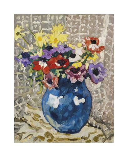 Anémones et marguerites au vase bleu, 1933 by Louis Valtat