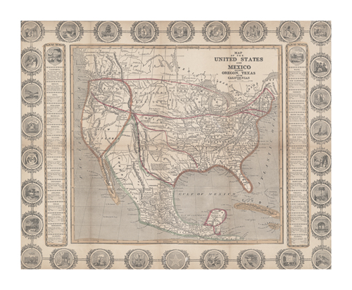 Map of the United States and Mexico by The Vintage Collection