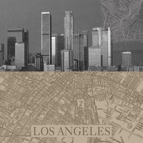 LA Map II by The Vintage Collection
