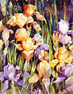 Irises, orange and purple by Trevor Waugh