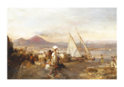 The Bay Of Naples With Mount by Oswald Achenbach