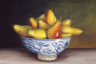 Pears in a Blue Bowl by Mimi Roberts