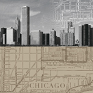 Chicago Map II by The Vintage Collection