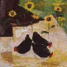 Chickens and Sunflowers by Anuk Naumann