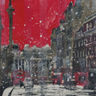 Snow Storm Towards Trafalgar Square by Susan Brown