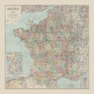 France Travel Map by The Vintage Collection