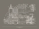 Automobile Engine Blueprint by The Vintage Collection