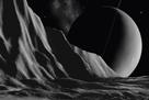 Ice Cliffs Of Miranda - Noir by David A Hardy