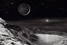Pluto And Charon - Noir by David A Hardy