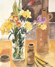 Freesias in a Glass Jar by Richard Akerman